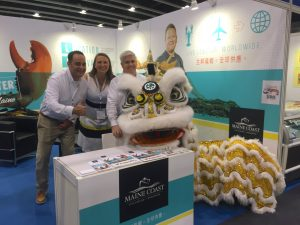 Matt Gallucci, Annie Tselikis and Lyle Brown were greeted by a dragon wishing them good luck at the beginning of Seafood Expo Asia