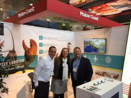 Maine Coast's Lively Lobster™ booth anchors one end of the Seafood Export USA Pavilion.